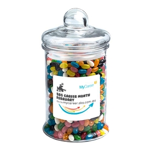 Big Apothecary Jar Filled with Jelly Beans 1.2Kg (Mixed or Corporate Colours) - Includes Colour Sticker on Jar