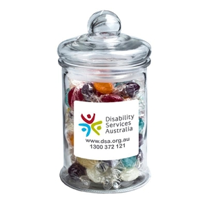 Big Apothecary Jar Filled with Boiled Lollies 700G/ X88 - Includes Colour Sticker on Jar