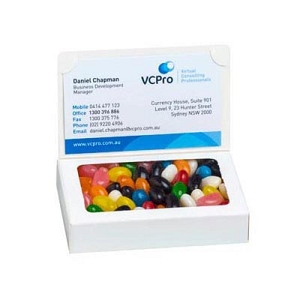Bizcard Box with Jelly Beans 50G (Mixed or Corporate Colours) - Includes Colour Sticker on front of box, From $2.13