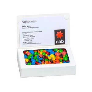 Bizcard Box with 50G M&M Bag - Includes Colour Sticker on front of box, From $3.23