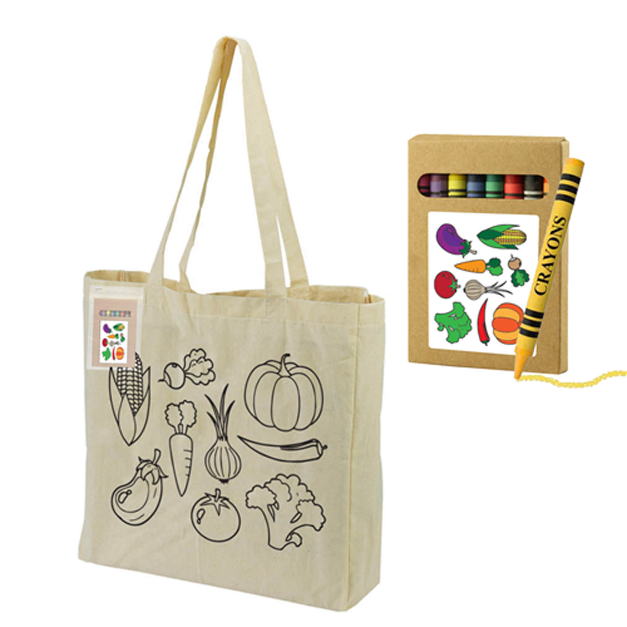 Colouring Calico Bag with Gusset Bag