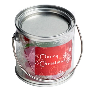 Small PVC Bucket Filled with Christmas Twist Wrapped Boiled Lollies 120G - Includes Colour Sticker, From $3.56