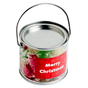 Medium PVC Bucket Filled with Christmas Twist Wrapped Boiled Lollies 300G - Includes Colour Sticker on bucket, From $4.96