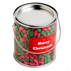 Big PVC Bucket Filled with Christmas Jelly Beans 950G - Includes Colour Sticker on bucket, From $9.86
