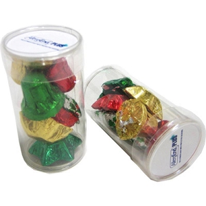 Pet Tube Filled with Christmas Chocolates 55G - Includes Colour Sticker, From $3.69