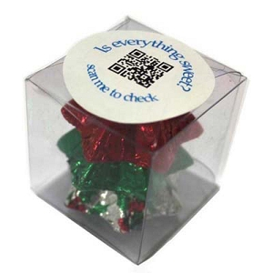 Cube Filled with Christmas Chocolates 30G - Includes Colour Sticker