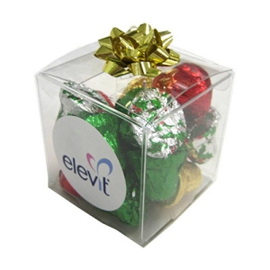 Cube Filled with Christmas Chocolates 60G - Includes Colour Sticker