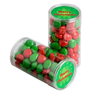 Pet Tube Filled with Christmas Chewy Fruits (Skittle Look Alike) 100G - Includes Colour Sticker