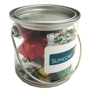Small PVC Bucket Filled with Christmas Chocolates 100G - Includes Colour Sticker, From $6.61