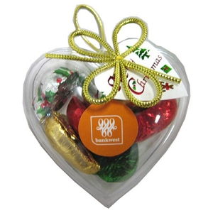 Acrylic Heart Filled with Christmas Chocolates 65G - Includes Colour Sticker, From $7.61