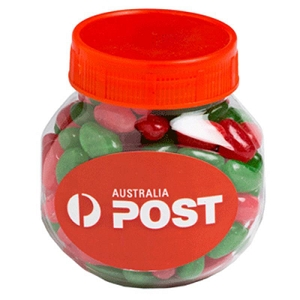 Plastic Jar Filled with Christmas Jelly Beans 170G - Includes Colour Sticker