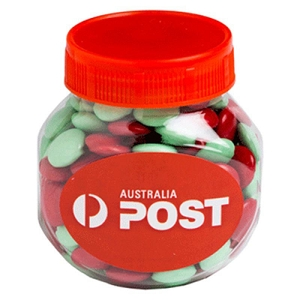 Plastic Jar Filled with Christmas Choc Beans 170G - Includes Colour Sticker , From $4.6