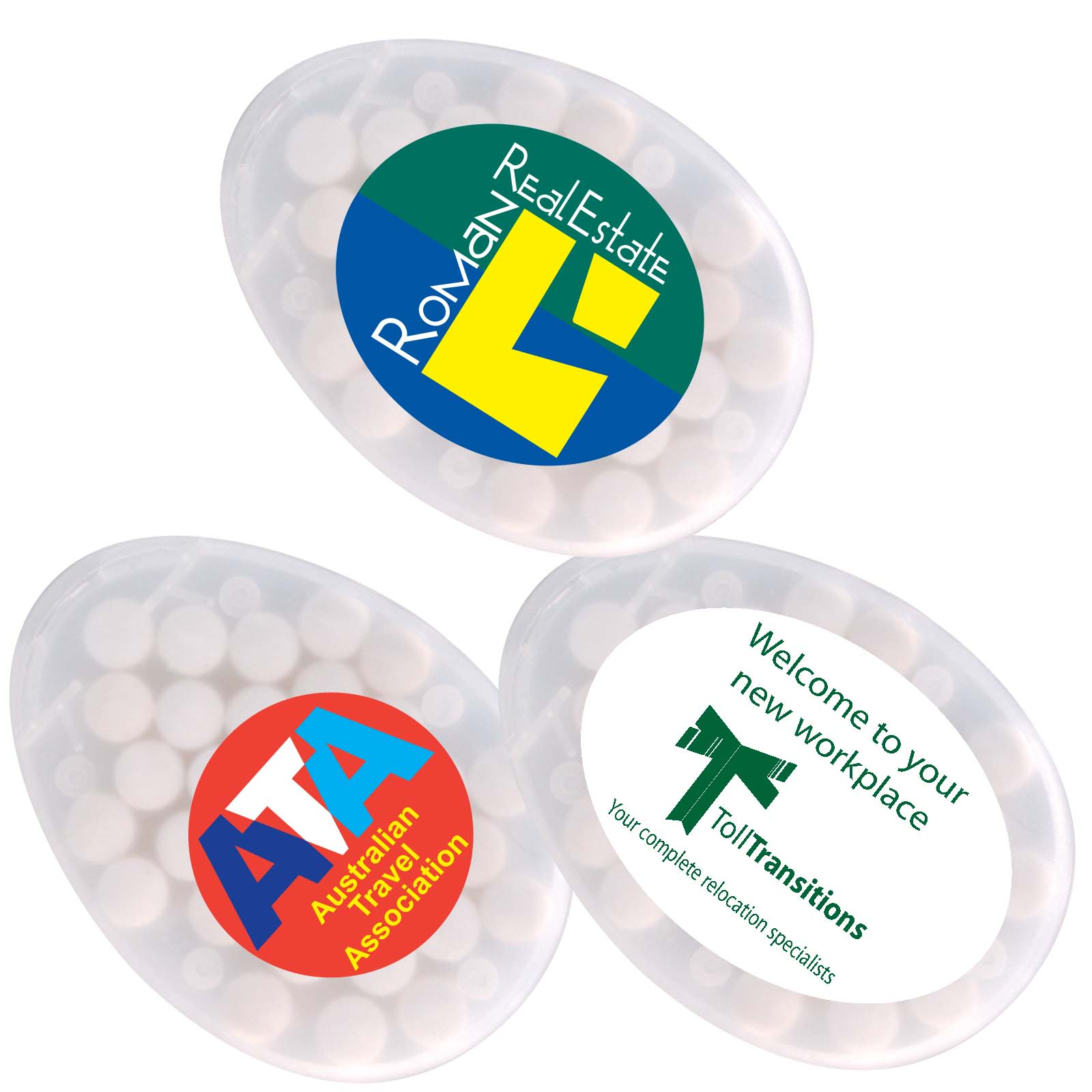 Egg Shape Sugar Free Breath Mints - Includes a full colour logo, From $0.7