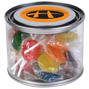 Assorted Colour Lollipops in 500ml Drum - Includes a full colour logo