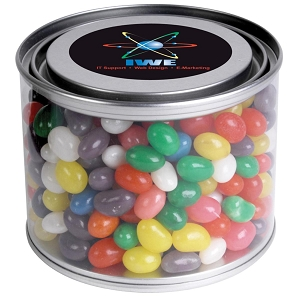 Assorted Colour Mini Jelly Beans in 500ml Drum - Includes a full colour logo