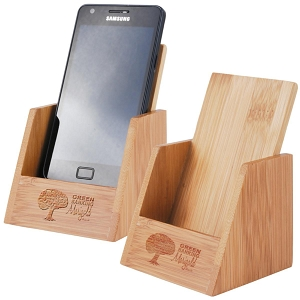 Bamboo Phone Holder - Includes a 1 colour printed logo