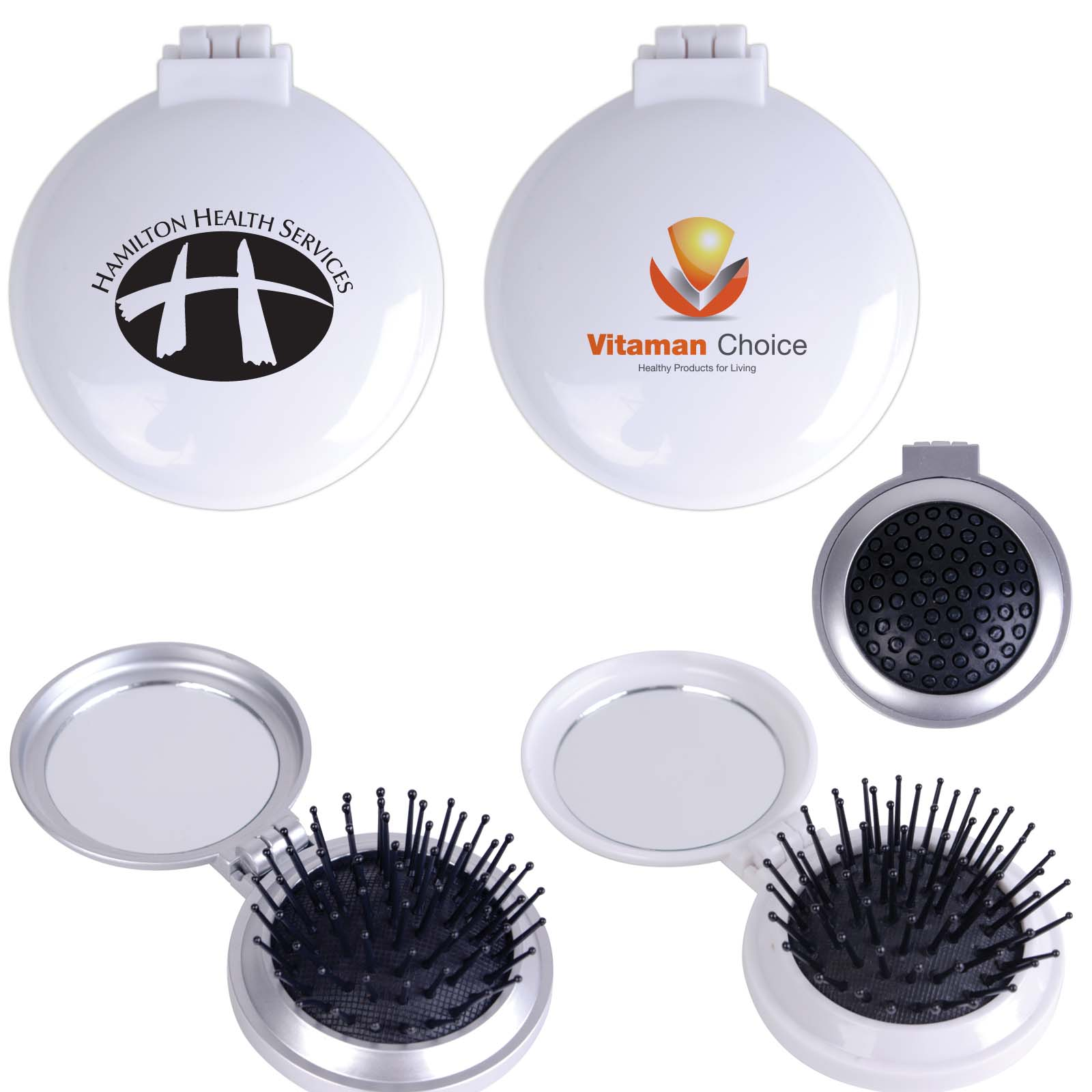 Compact Pop Up Brush / Mirror Set - Includes a 1 colour printed logo