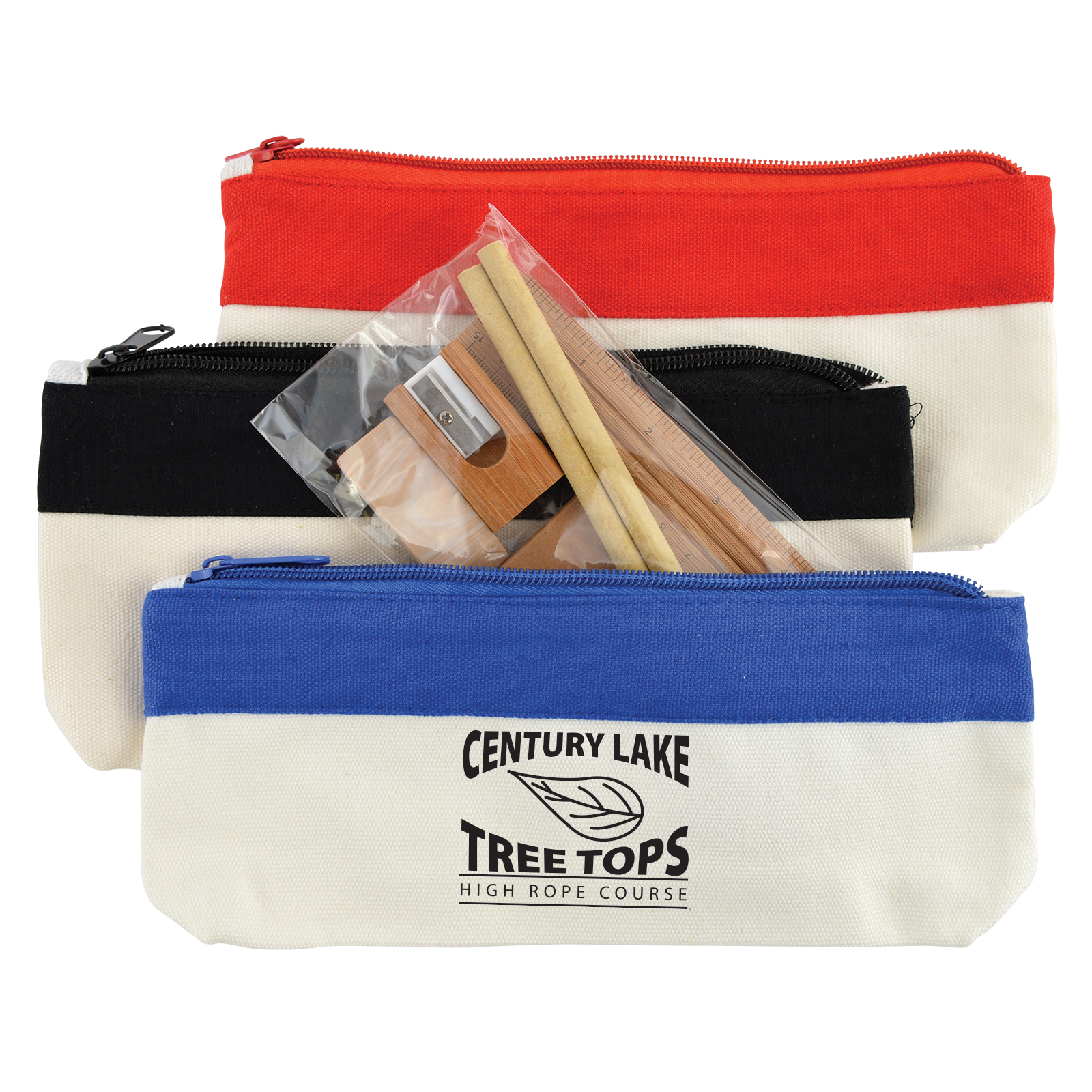 Bamboo Stationery Set in Cotton / Canvas Organiser / Pencil Case - Includes a 1 colour printed logo