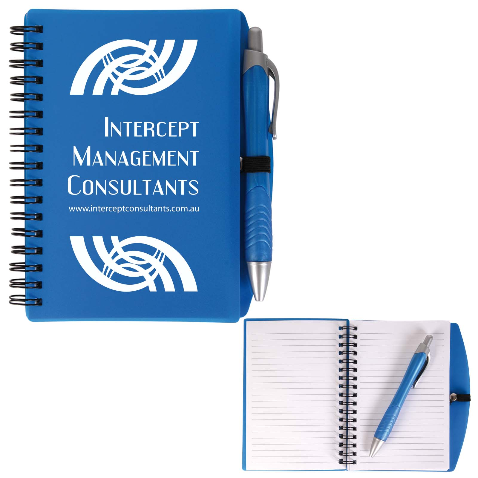 Scribe Spiral Notebook with Pen - Includes a 1 colour printed logo