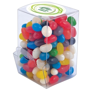 Assorted Colour Mini Jelly Beans in Mini Confectionery Dispenser - Includes a full colour logo
