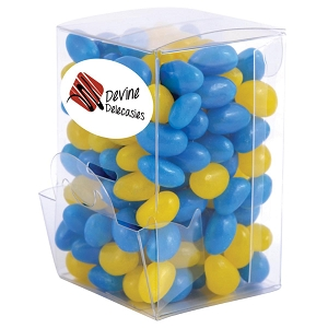Corporate Colour Mini Jelly Beans in Mini Confectionery Dispenser - Includes a full colour logo