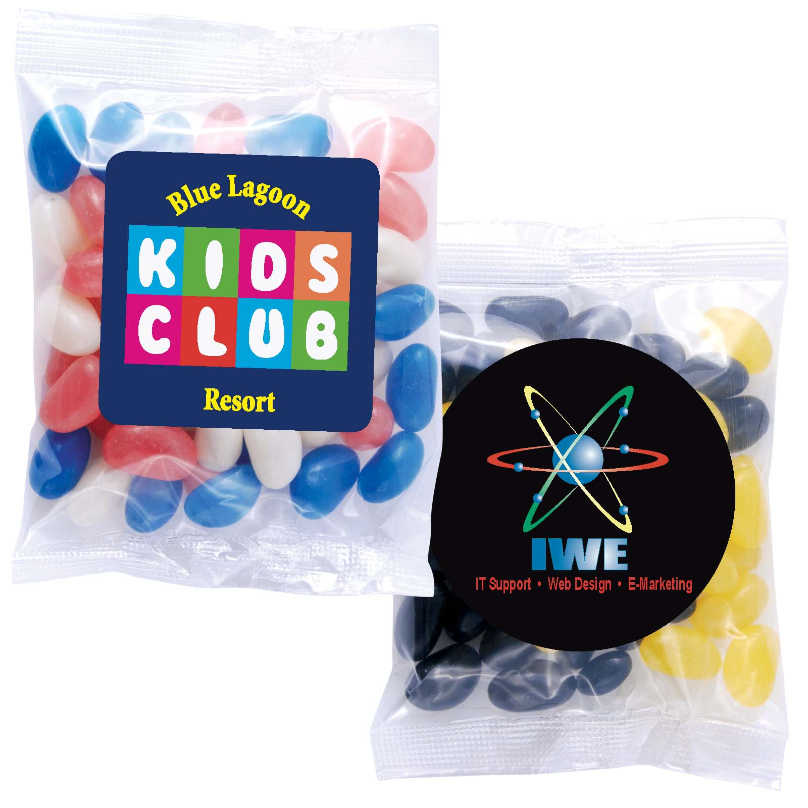 Corporate Colour Mini Jelly Beans in 60 Gram Cello Bag - Includes a full colour logo, From $0.84