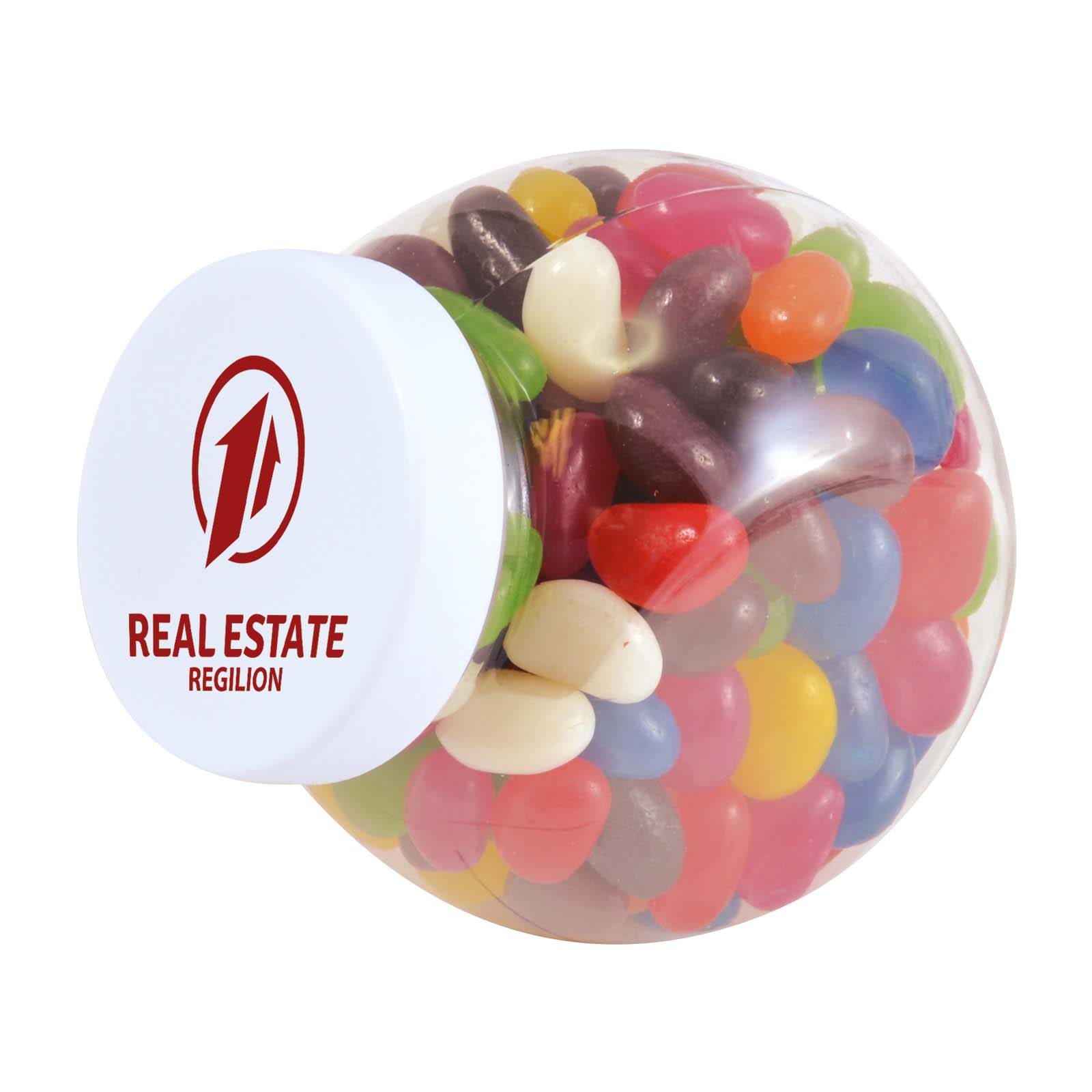 Assorted Colour Mini Jelly Beans in Container - Includes a 1 colour printed logo