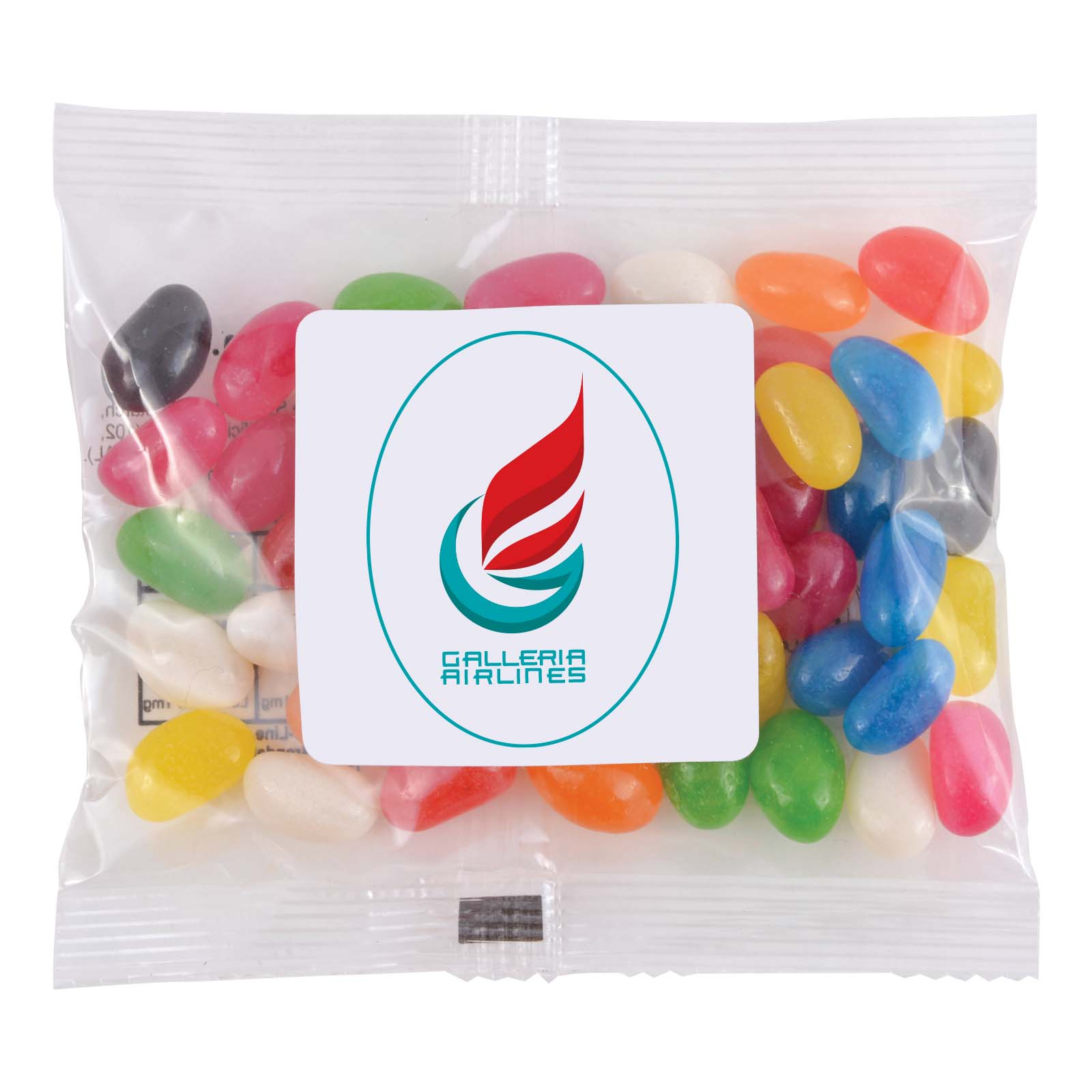 Assorted Colour Mini Jelly Beans in 60 Gram Cello Bag - Includes a full colour logo, From $0.84
