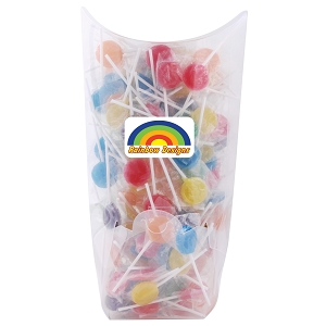Assorted Colour Lollipops in Confectionery Dispenser - Includes a full colour logo