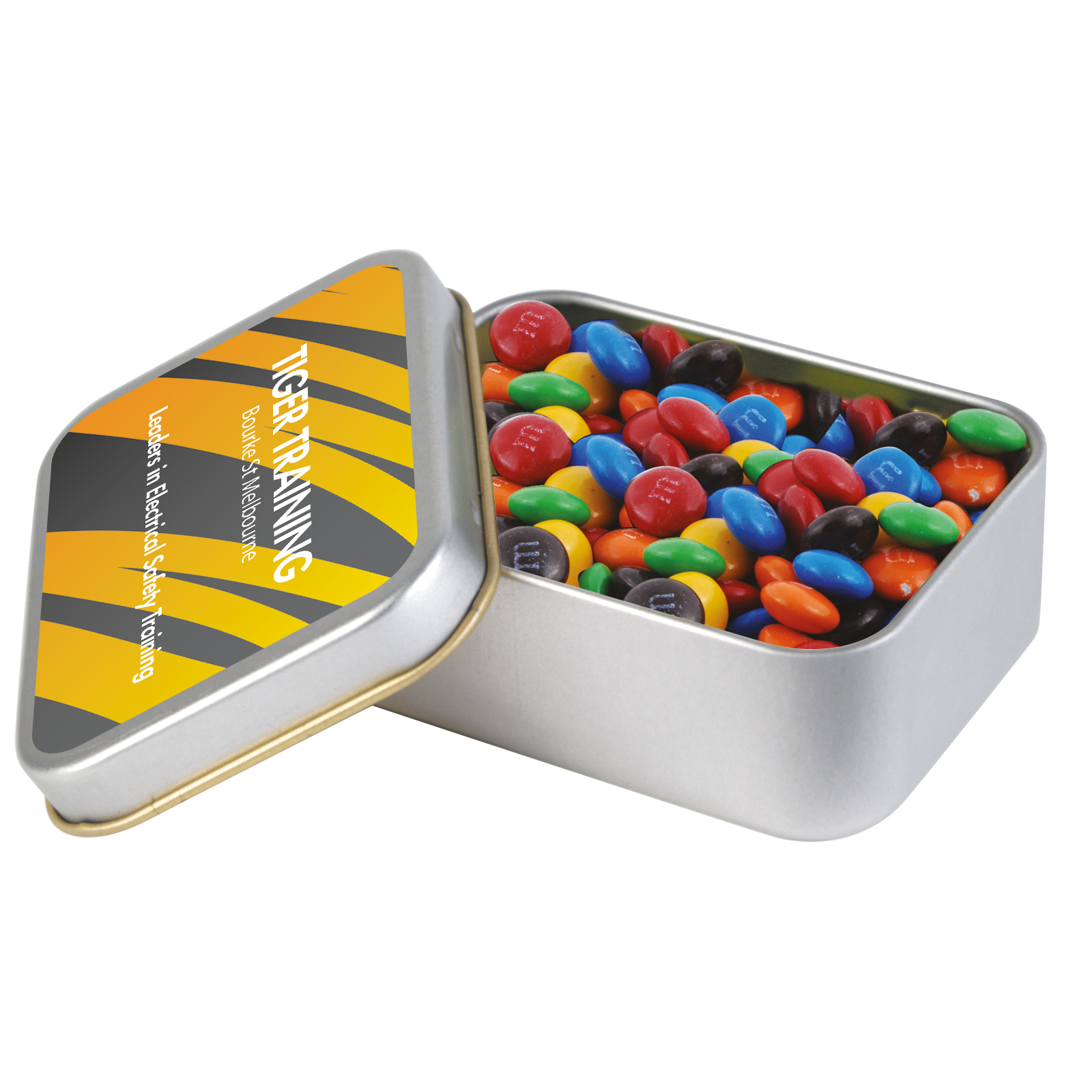 M&M's in Silver Rectangular Tin - 1 Col 1 Pos Print