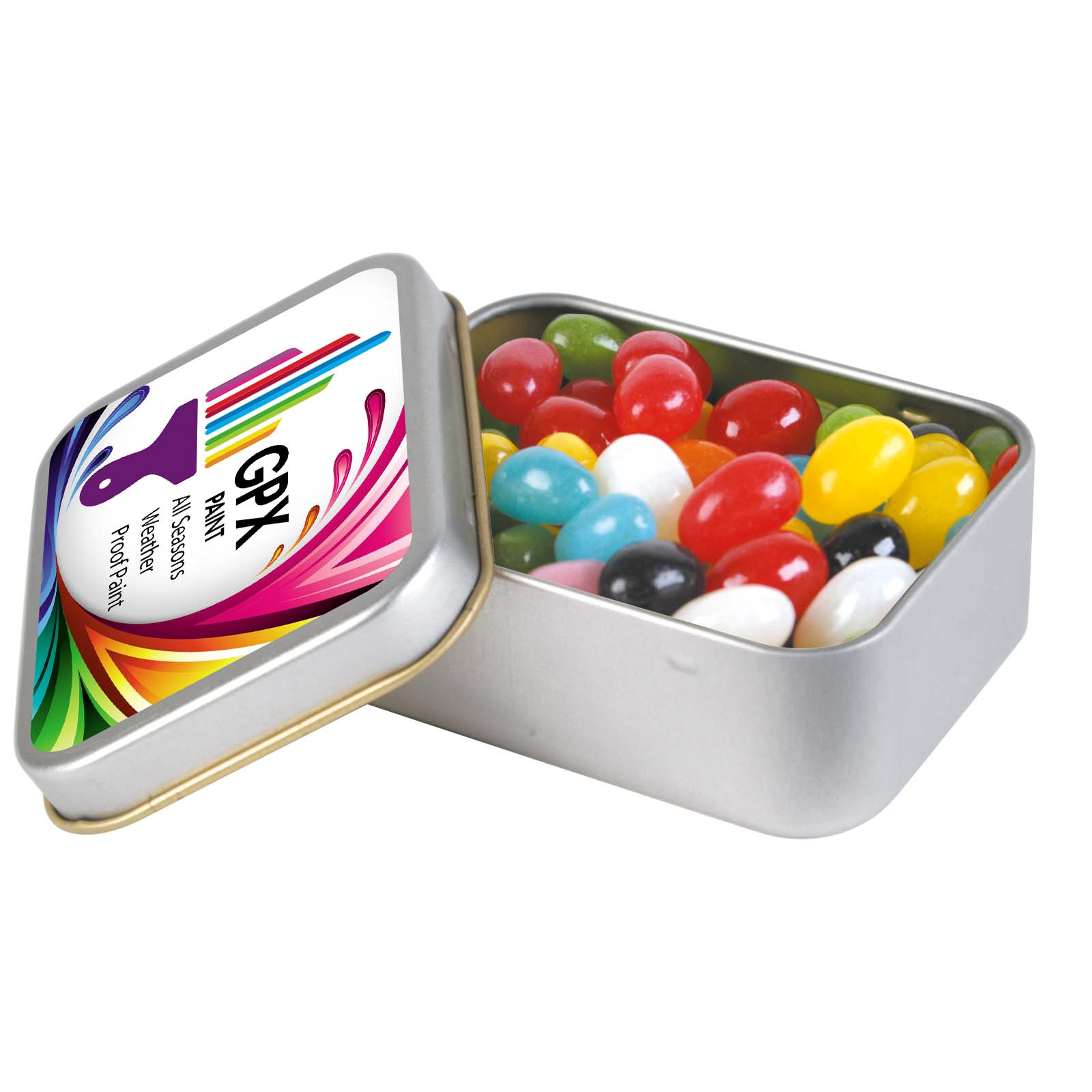 Assorted Colour Mini Jelly Beans in Silver Rectangular Tin - 1 Col 1 Pos Print