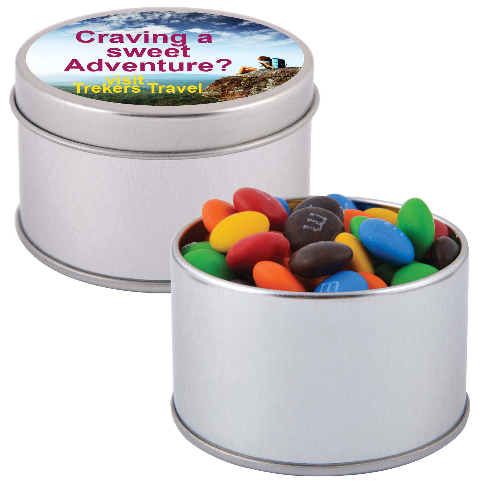 M&M's in Silver Round Tin - Includes a 1 colour printed logo