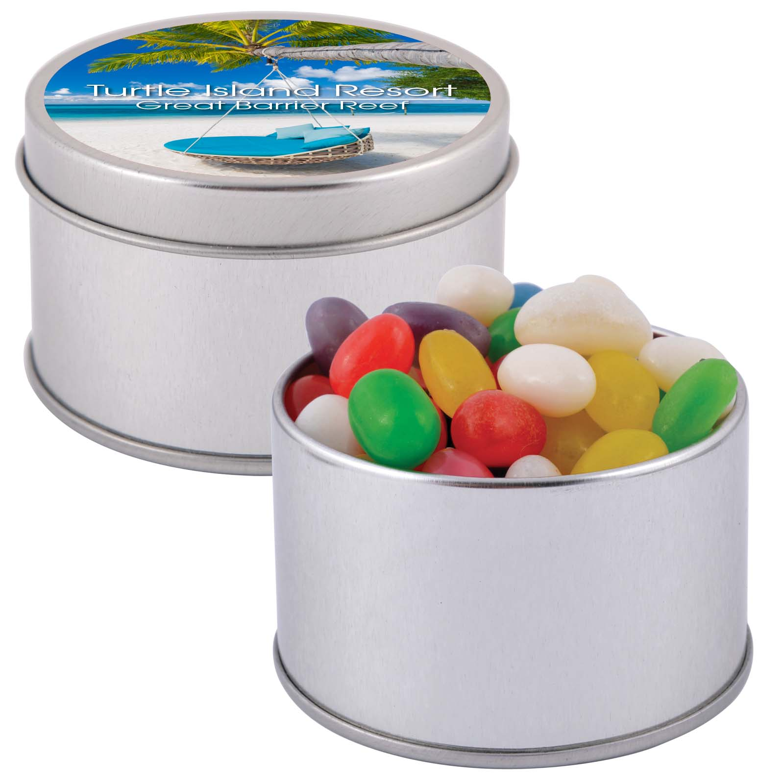 Assorted Colour Mini Jelly Beans in Silver Round Tin - Includes a 1 colour printed logo