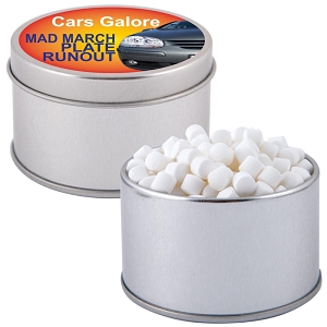 Peppermints in Silver Round Tin - Includes a 1 colour printed logo, From $3.35