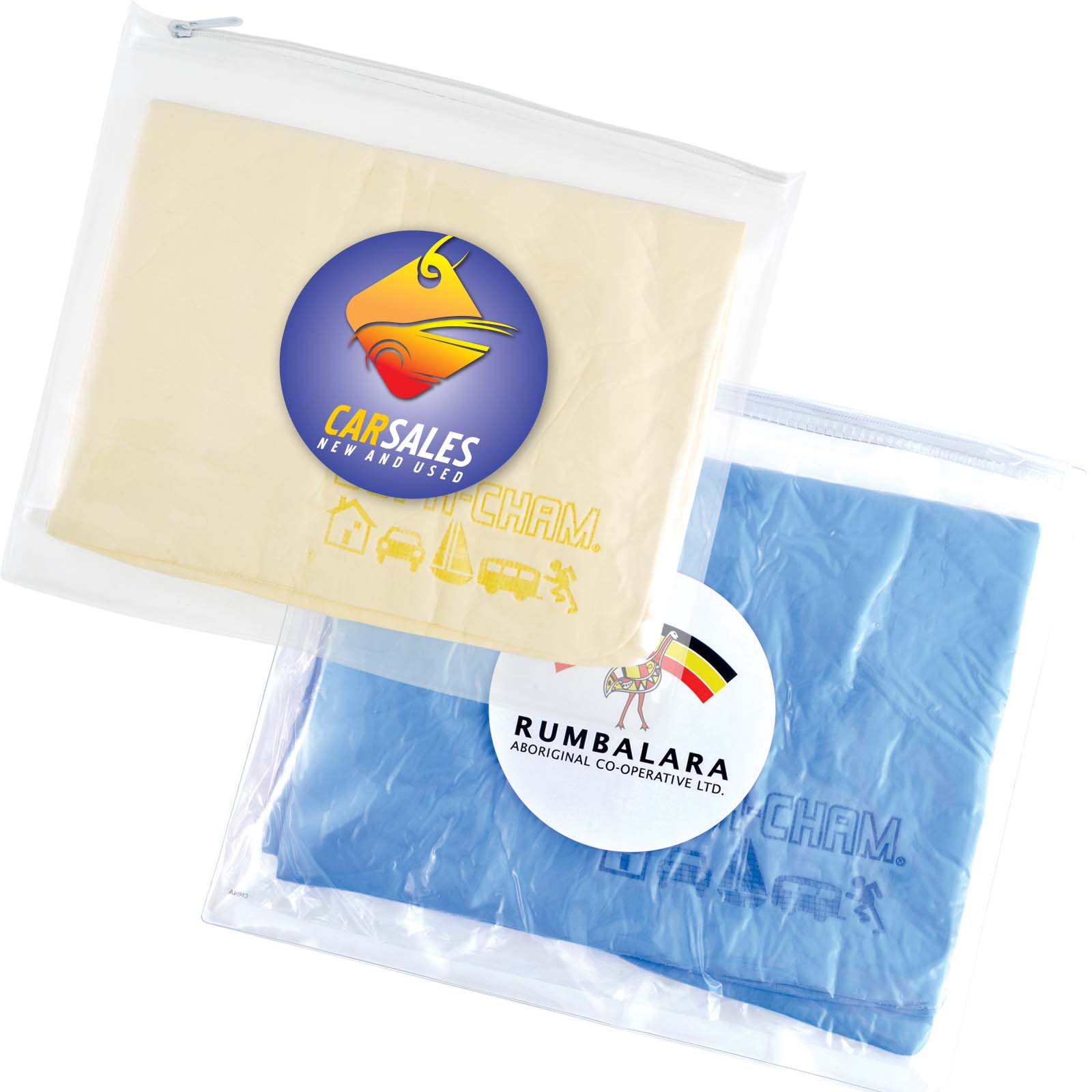 Supa Cham Chamois / Body Towel in PVC Zipper Pouch - Includes a full colour logo