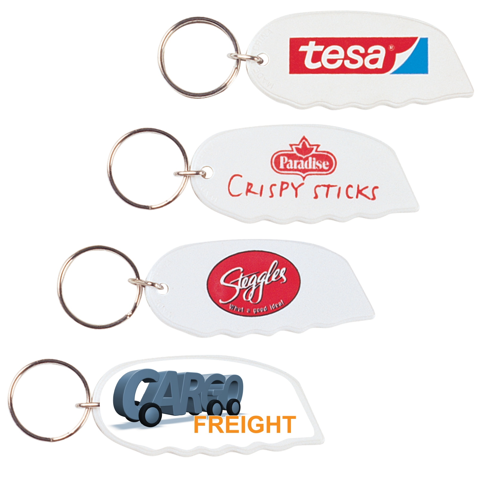 White Marvel Cutter / Keyring - Includes a 1 colour printed logo, From $0.69