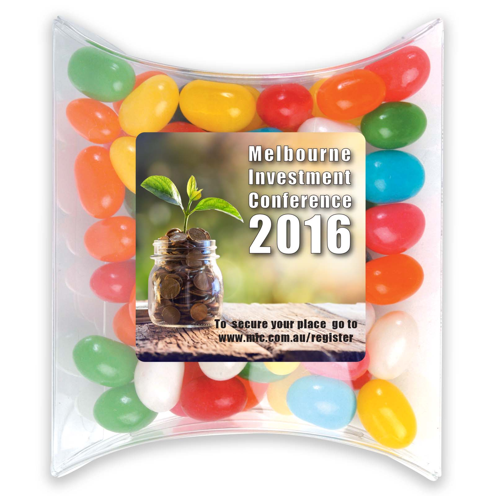 Assorted Colour Mini Jelly Beans in Pillow Pack - Includes a full colour logo