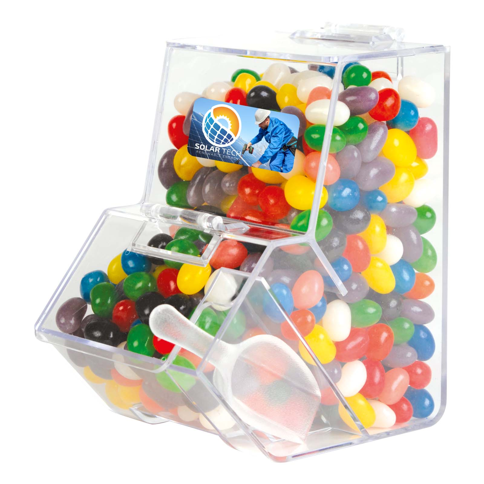 Assorted Colour Mini Jelly Beans in Dispenser - Includes a full colour logo