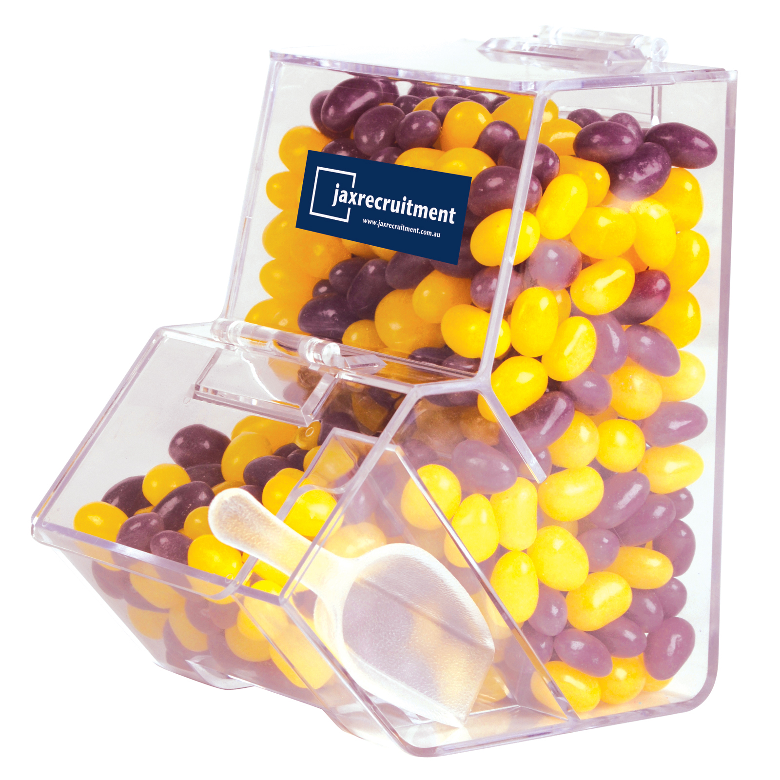 Corporate Colour Mini Jelly Beans in Dispenser - Includes a full colour logo, From $9.53