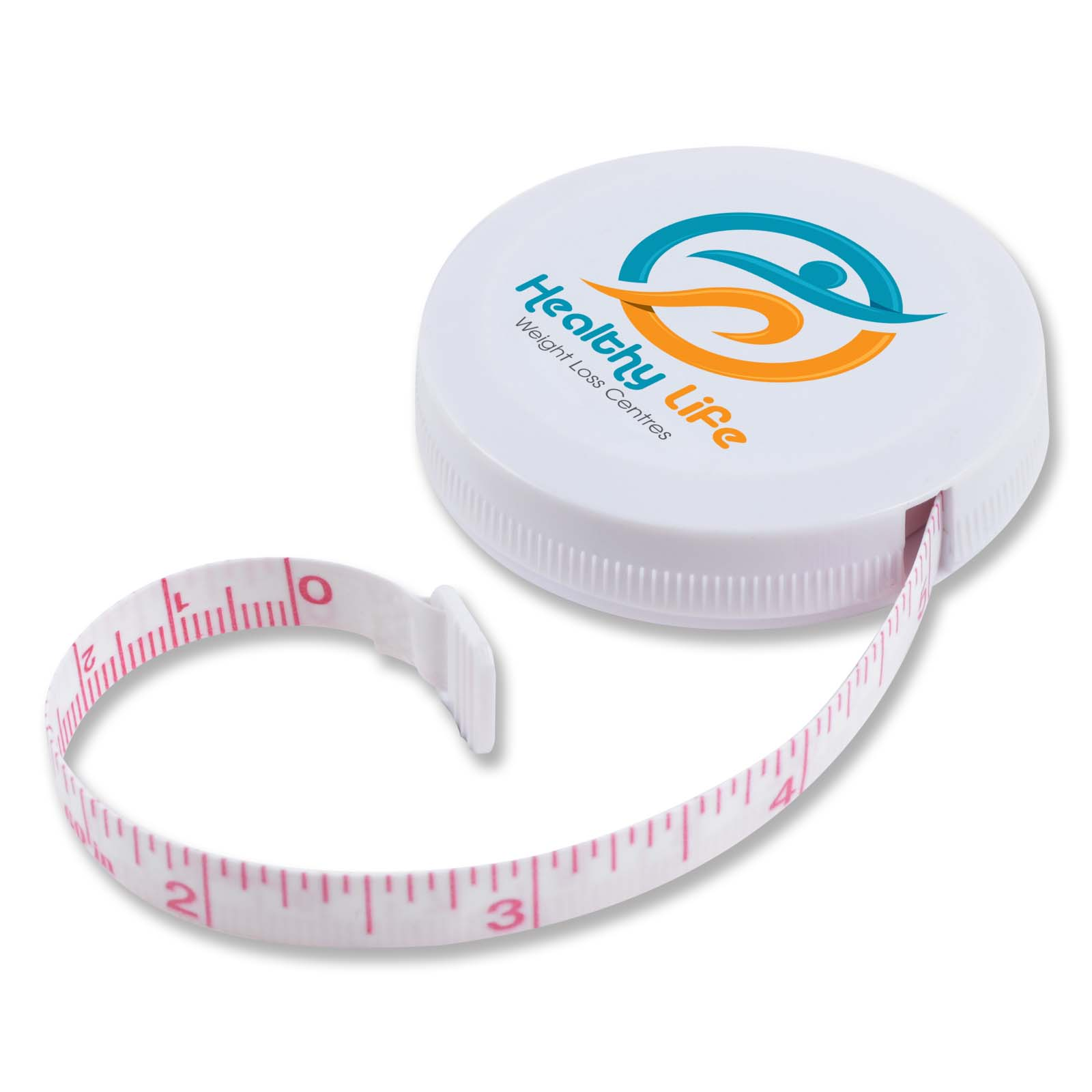 White Styleline Tape Measure - Includes a 1 colour printed logo