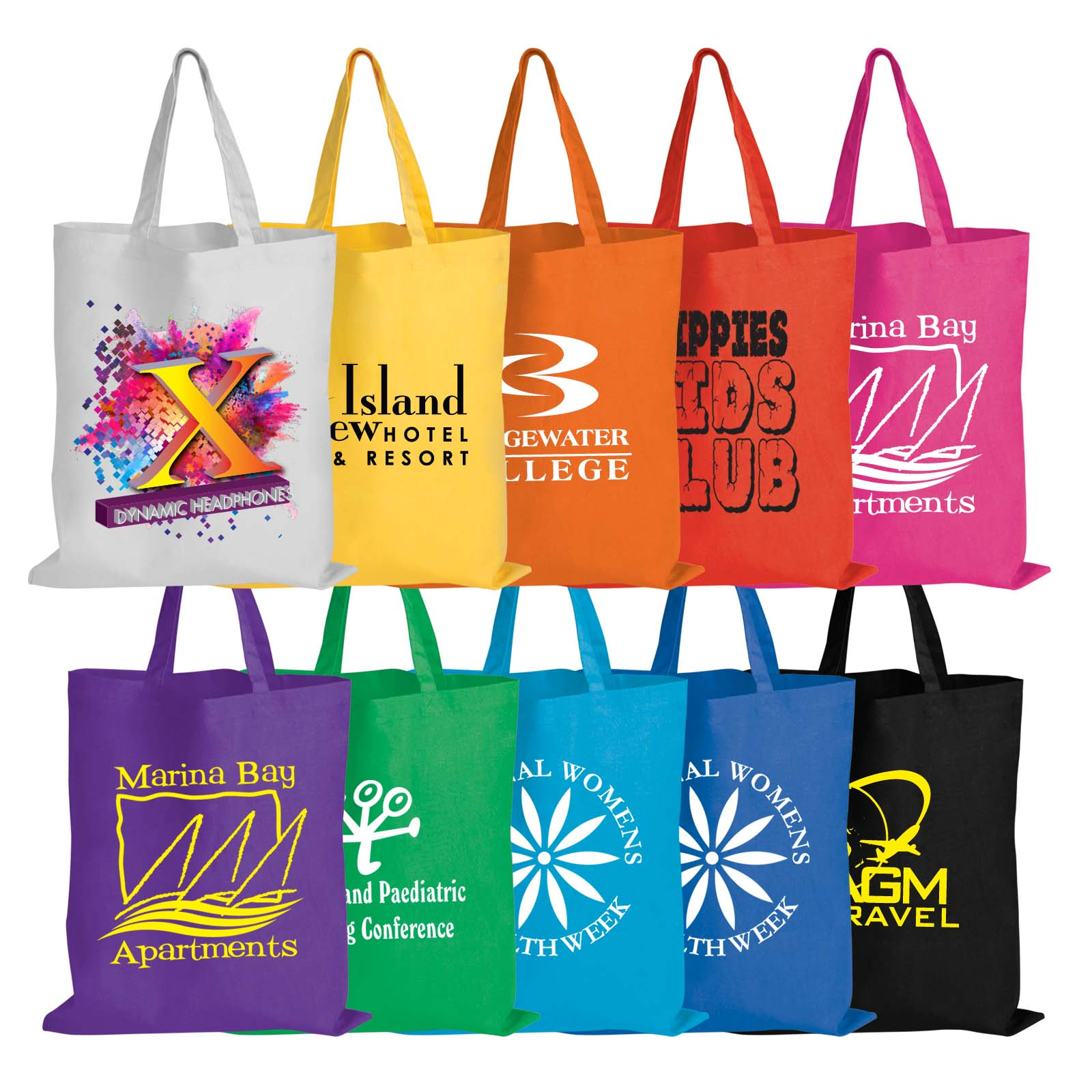 Coloured Cotton Double Short Handle Tote Bag - 140 GSM - Includes a 1 colour printed logo
