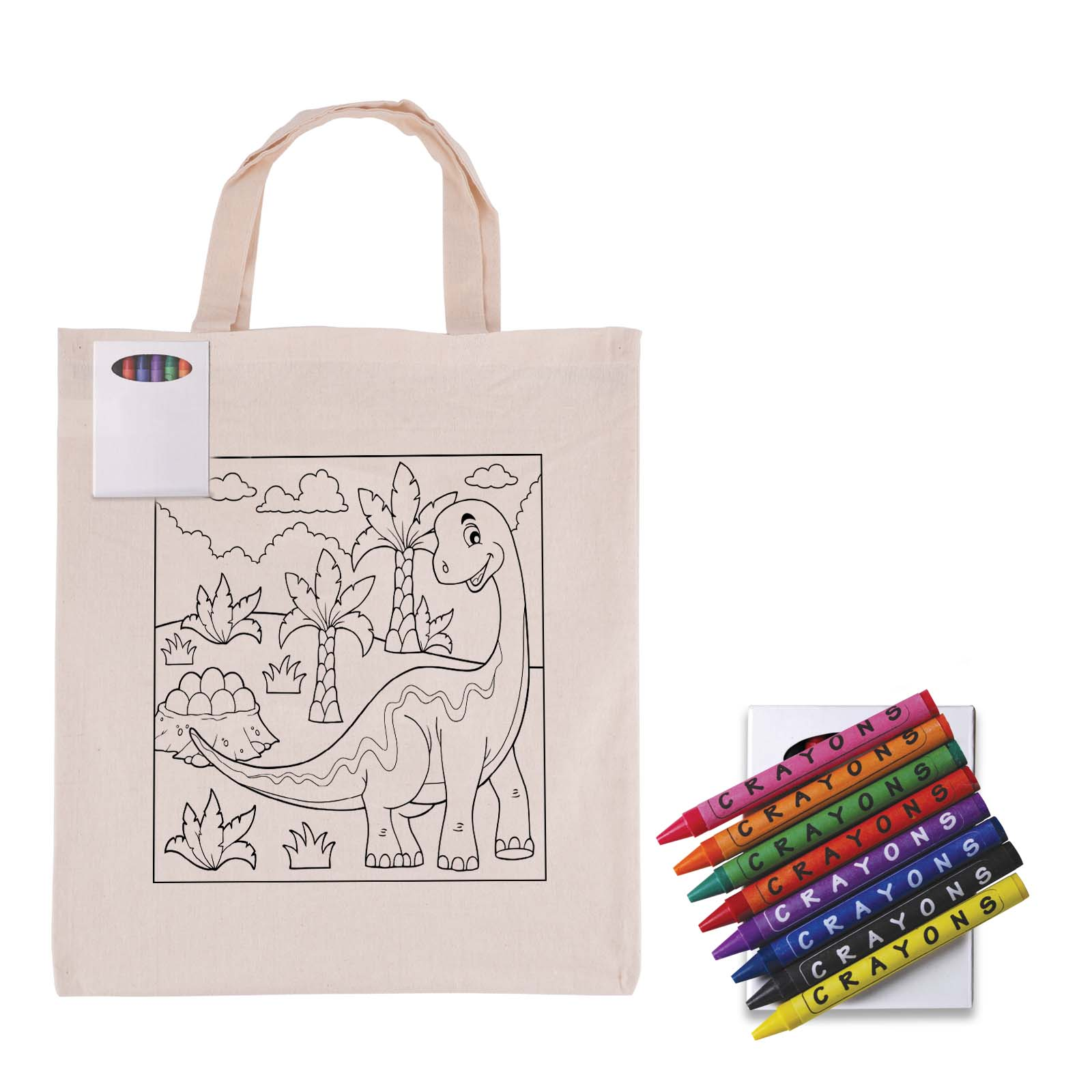 Colouring Calico Short Handle Bag with Crayons - 1 Col 1 Pos Print Bag + Digital Label Crayons