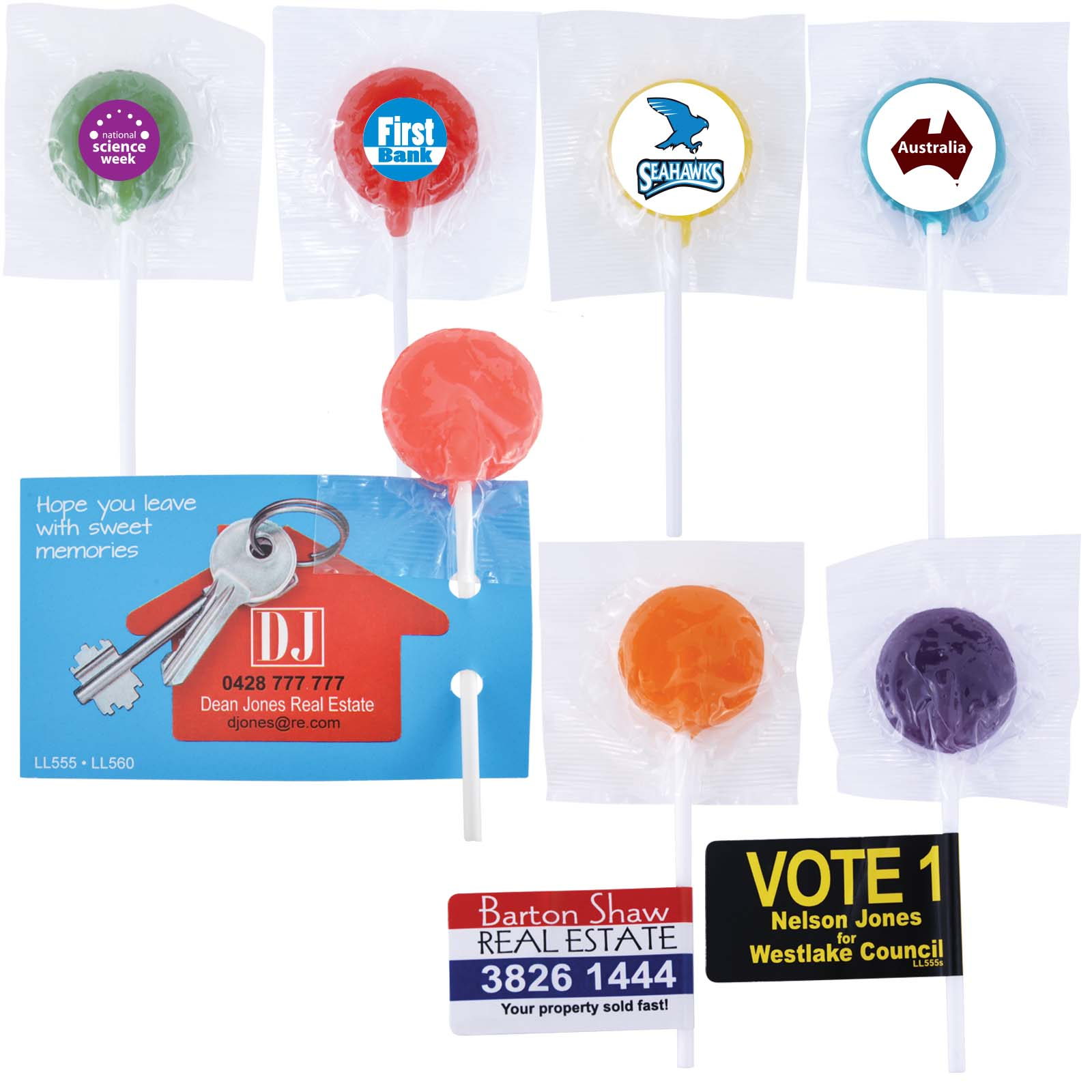 Assorted Colour Lollipops - Includes a full colour logo