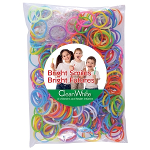 Logo Loom Bands in Polybag - Includes a full colour logo