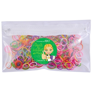 Logo Loom Bands in PVC Organiser / Pencil Case with Zipper - Includes a 1 colour printed logo