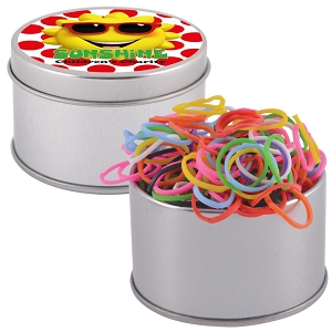 Logo Loom Bands in Silver Round Tin - Includes a 1 colour printed logo