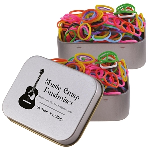 Logo Loom Bands in Silver Rectangular Tin - Includes a 1 colour printed logo
