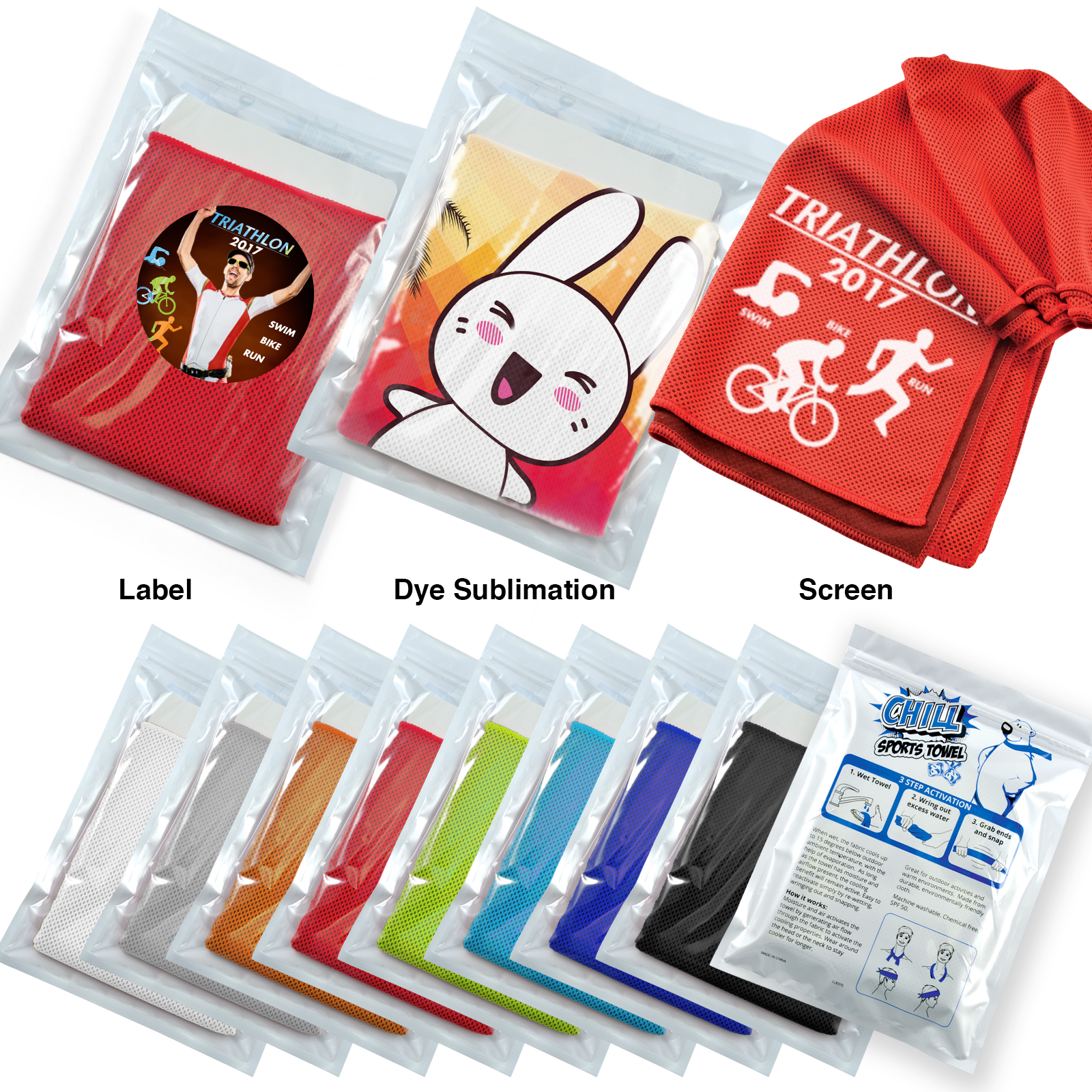 Chill Cooling Towel in Pouch - 1 Col 1 Pos Print