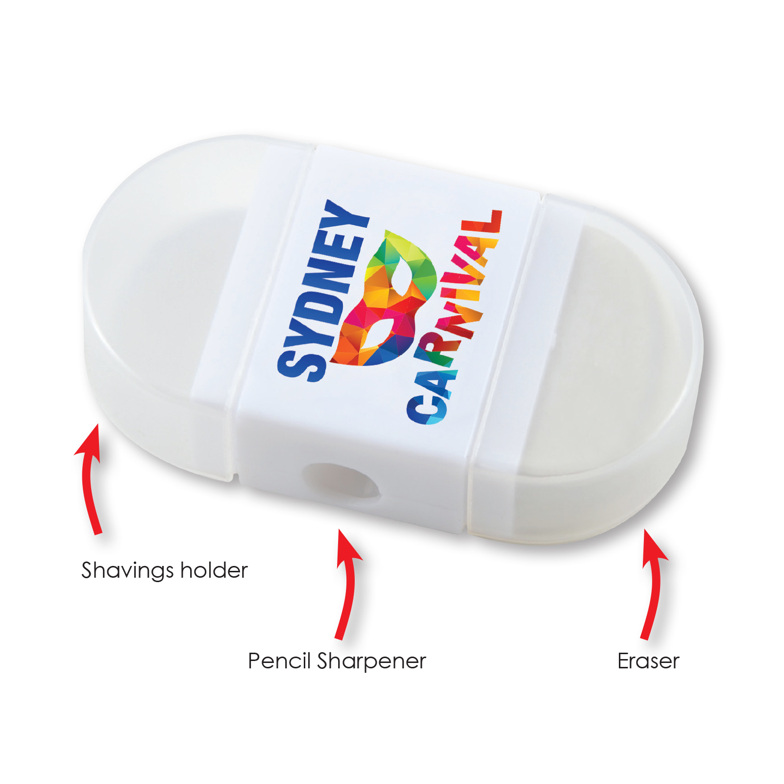 2 in 1 Pencil Sharpener / Eraser - Includes a 1 colour printed logo