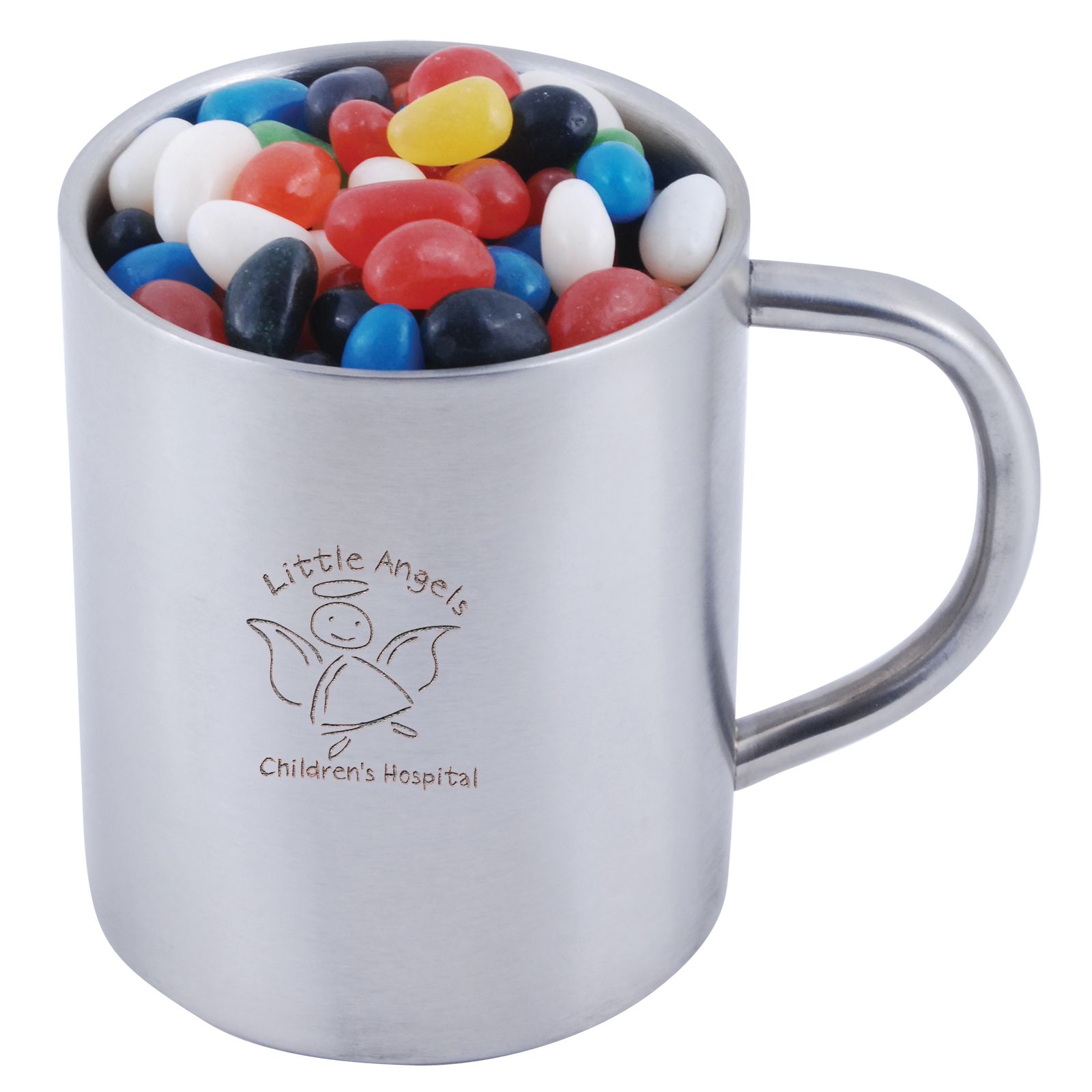 Assorted Colour Mini Jelly Beans in Java Mug - 1 Pos Laser Engraved